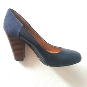 Also Round Toe Navy Blue Chunky Heel Pumps Size 7